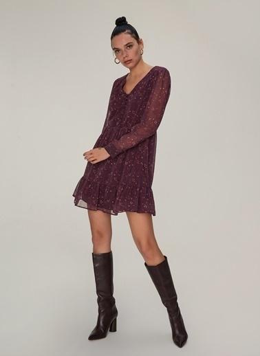 NGSTYLE Volan Detaylı Elbise Gül Kurusu